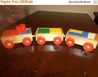 Save 25% Today Vintage Wooden Train Cars with Wooden Blocks 3 Cars 16 Multi Colored Blocks