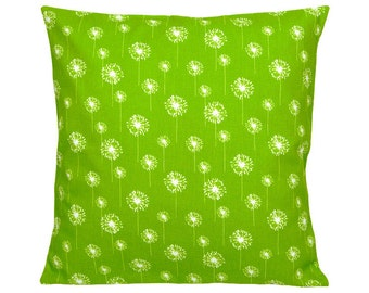 Dandelion flower DANDELION green-and White Cushion cover 40 x 40 cm