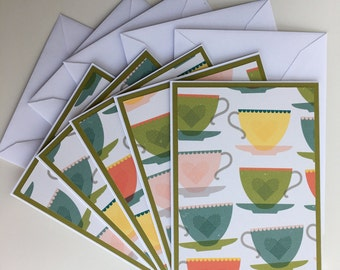 Set of 5 Blank Cards Colorful Teacup Theme, Blank Note Cards, Blank Stationary Set, Hand Made, Home Made, With Envelopes, TeaCups