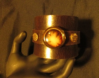 Woman's Handmade Leather cuff bracelet with vintage buttons