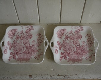 Matching Pair of Vintage Crown Devon Plates - Platters