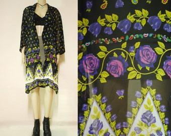 90s Vintage Black Sheer Floral Jacket Long Length Top Boho Hippie Paisley Vtg 1990s Free Size