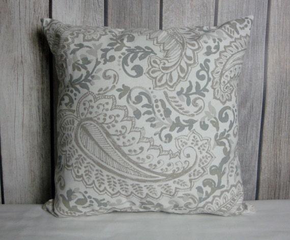 Throw Pillow. Leaf Pillow. Pillow Cover. Grey Pillow. Tan Pillow