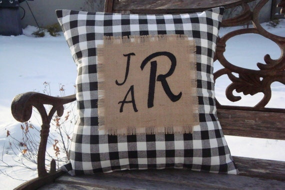 Monogram Pillow. Burlap Pillow. Plaid Pillow. Pillow Cover.