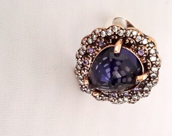 Sterling Silver Ring, Silver Ring, Rose Silver Ring, Amethyst Ring, Zircon Ring