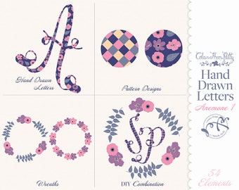 Hand Drawn Letters Anemone 1 Flower Floral Purple Pink {Vectors Clip Arts Illustrator Graphics}