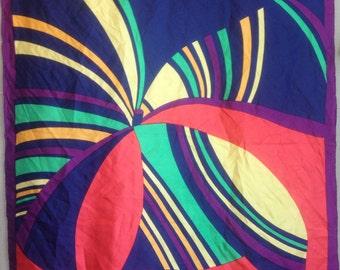 Vintage Vibrant Silk Scarf Pinwheel Butterfly Purple Pink Blue Yellow Green