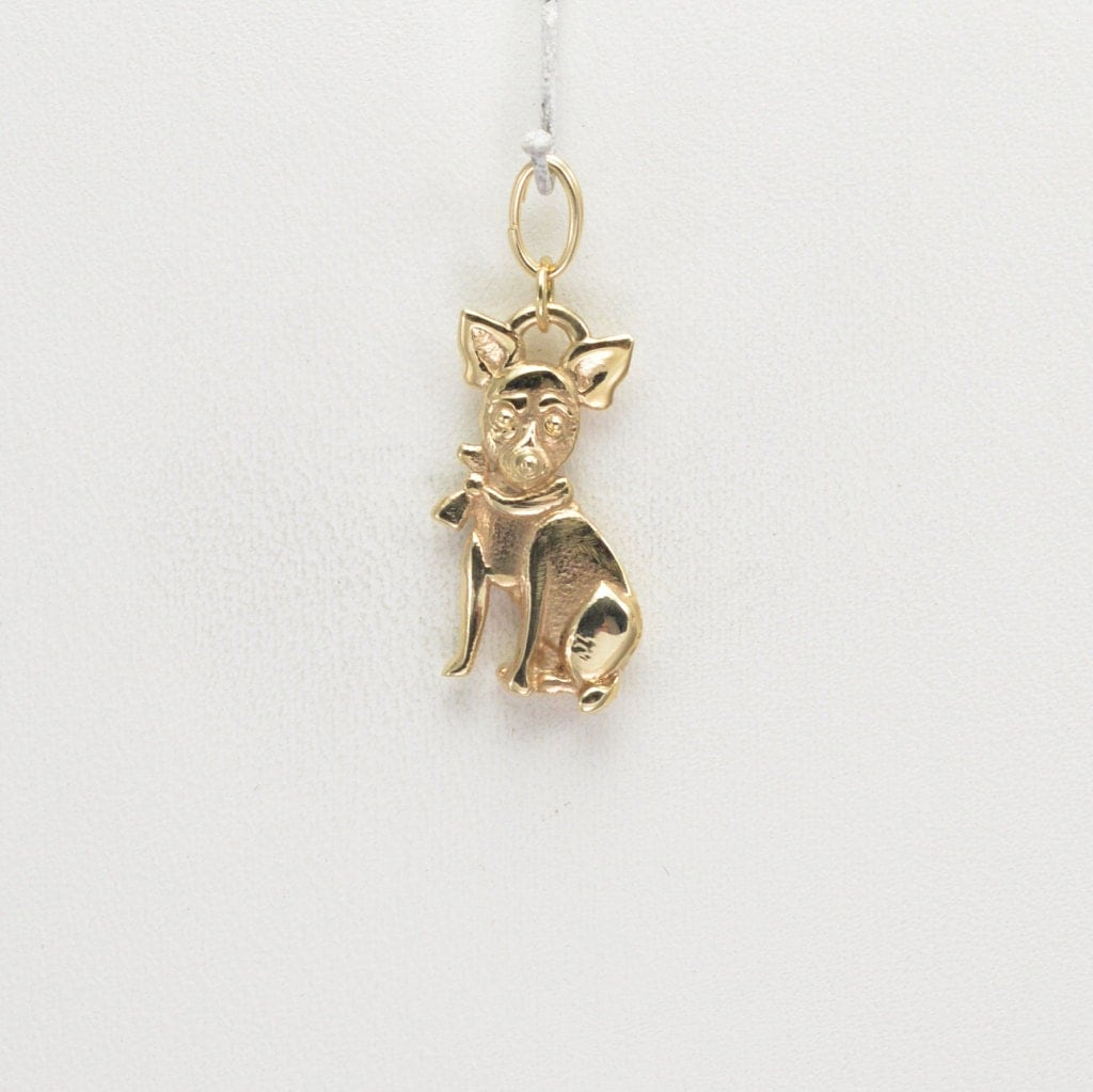 14kt gold chihuahua charm by donna pizarro from animal