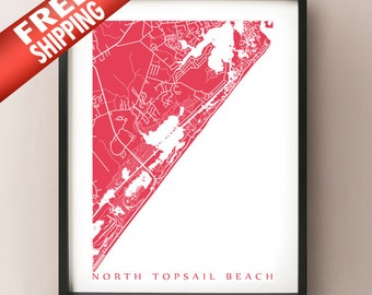 North Topsail Beach map art print - North Carolina Poster