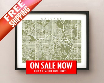 Calgary Map Art - Alberta Poster Print