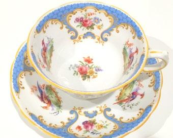 Elegant Grosvenor Tea Cup and Saucer, Rutland Cup, Bird Tea Cups, Blue Teacups and Saucers, Tea Set, Antique Tea Cups, China Tea Cups