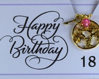 18th Birthday Birthstone Necklace, gold filled, tree of life, key necklace, birthstone, gift for her, 18th.   Australian seller.
