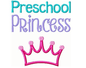 Preschool Princess Crown Applique Embroidery Design -INSTANT DOWNLOAD-
