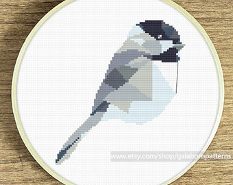 Cross stitch pattern Chickadee, Geometric Chickadee, Modern cross stitch, Instant download