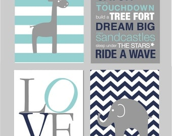 "50% Off Sale Baby Boy Nursery, Elephant Nursery, Boys Room Wall Art, Baby Boy Nursery, Giraffe Nursery Art INSTANT DOWNLOAD 8""x10"""