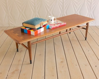 "Vintage Lane Acclaim Coffee Table 56"" Walnut Refinished Mid Century Modern Danish Style Retro Long 50's 60's Atomic Saw Tooth"