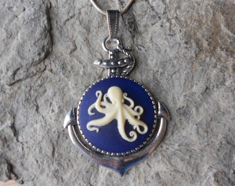 Octopus Cameo Necklace, with Anchor Setting - Cream on Navy Blue - Nautical, Naval, Cruise, Vacation, Ship, Ocean, Squid, Sea, Steampunk