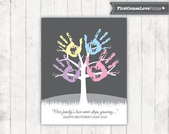 Children's Mother's Day Gift Handprint Tree Unique Gift for Mom from Kids Digital File Gray Family Tree Keepsake Art Last Minute Gift Idea