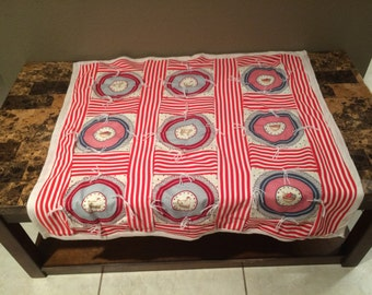 """Vintage Throw Lap Blanket Handmade Red & White Striped Country 34"""" x 34"""""""