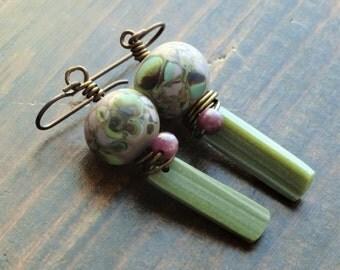 Spring in her step- earrings - Artisan, Dangle, Bohemian, Rustic, Organic