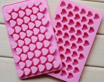 Silicone mold to 55 Heart - Little Hearts - Plasters - Fondant - Decorating Cakes - Soap- Candles - Chocolate DIY