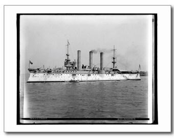 U.S.S. Brooklyn, Cruiser, Navy Warship c1900 Vintage REPRO Postcard R531757