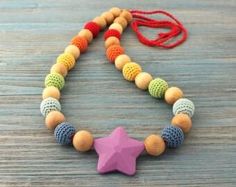 Breastfeeding necklace - Crochet nursing necklace for mom - rainbow necklace