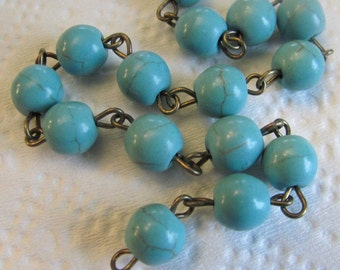 3 FEET - 8mm Rosary Chain - Turquoise - Antique Brass Wire Wrapped Beaded Chain