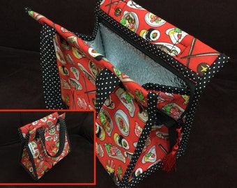 Lunch Bag, Thermal, Insulated, Cotton, Handmade
