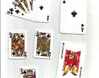 6 pc Poker Playing Cards King Jack Hand Joker Gamble Embroidered Iron on Patch Applique 6201