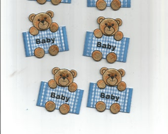7 PC Baby Blue Plaid Brown Bear Iron On Patch Applique 6249