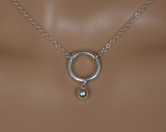 Slave bell - Discrete 'O' ring Day Collar / Slave Necklace. Sterling silver. Captive/Eternity/Infinity ring. Wear as a choker or a necklace