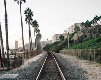 San Clemente Railroad - California Pacific Ocean Beach Sea Coastal Pastel Wall Art Photography Print