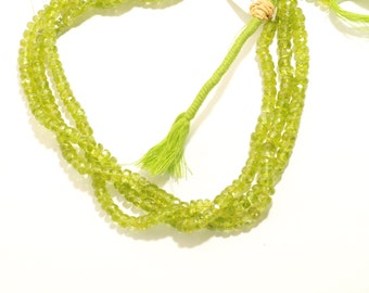 """Faceted Peridot Rondelle Beads 5.5mm 14""""Long"""