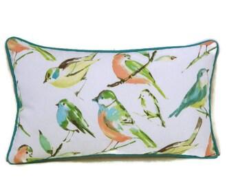 Outdoor Lumbar Bird Pillow Cover, Indoor Outdoor Pillow, Bird Pillow Cover, Teal Green Coral and White Pillow, Richloom Birdwatcher Pillow
