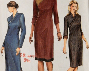 Vogue 7965 Classy dress pattern with Asian inspired bodice Uncut Sizes 8, 10 and 12
