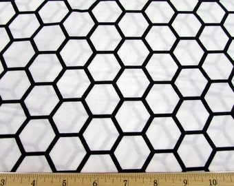 Hexagon White/Black Fabric