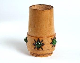 Vintage wooden handmade pencil cup, Vintage workshop organizer, Office decor, Vintage handmade leather dice cup,