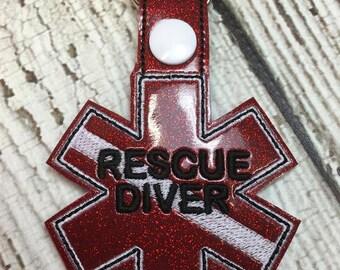 Rescue Diver - EMS - Paramedic - EMT - In The Hoop - Snap/Rivet Key Fob - Digital Embroidery Design