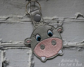 Hippo - Snap/Rivet Key Fob - DIGITAL Embroidery Design