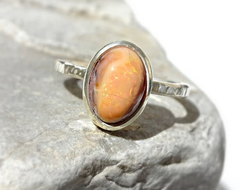 fire opal engagement ring, cantera opal ring, matrix opal ring silver, fire opal ring, matrix opal ring, mexican fire opal ring size 7.5US