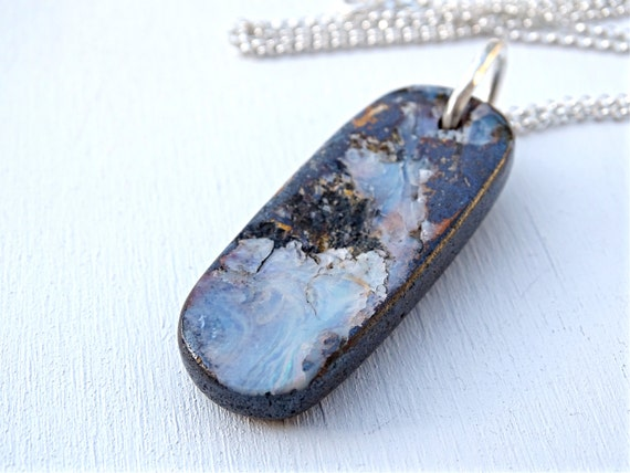 Big boulder opal pendant silver natural opal necklace silver like this item aloadofball Choice Image