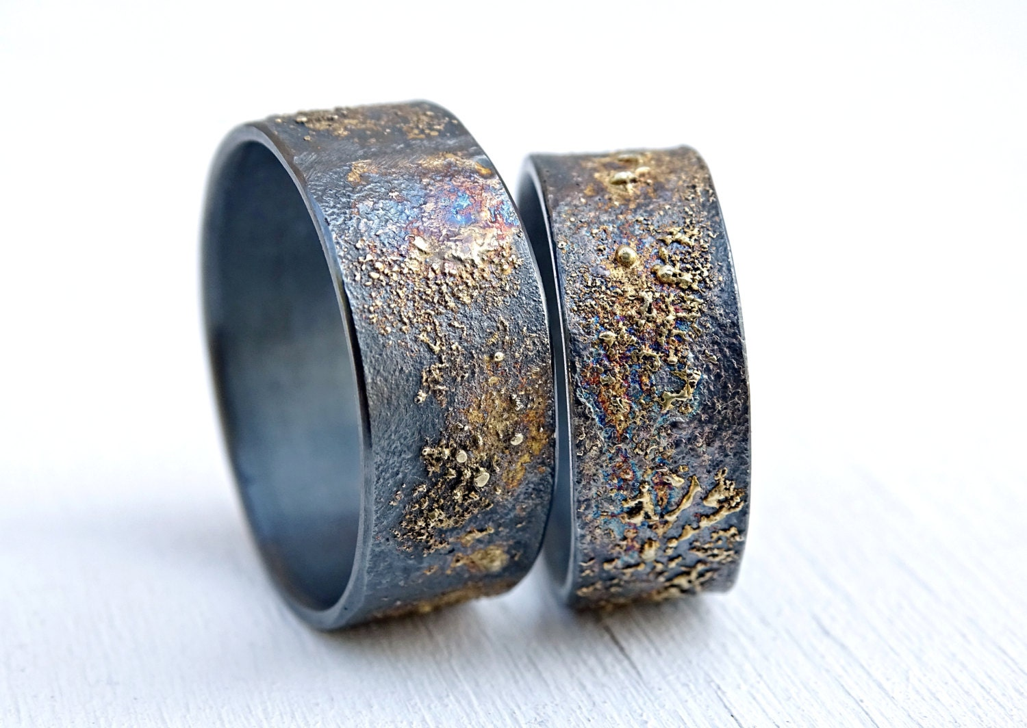 unique wedding bands gold silver molten wedding ring by