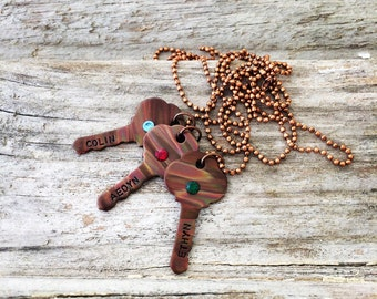 Mom Necklace / Gifts for Her / Copper Necklace / Key Necklace / Keys to my heart Necklace