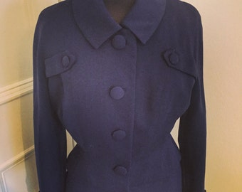 Beautiful chic French navy vintage suit Andre Peters Original