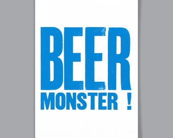 BEER MONSTER! A4 letterpress print