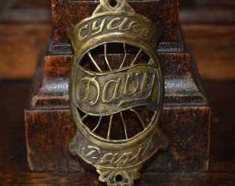 Antique Brass French Bicycle Headbadge Davy Cycles Paris Head Badge Plaque