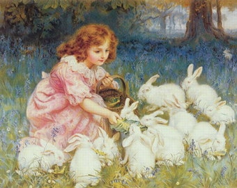 "11 x 14"" canvas art print~ Frederick_Morgan  Feeding white  Rabbits, 1901 Copyright has expired in the us, Bunnies, Hares, animals, pets"