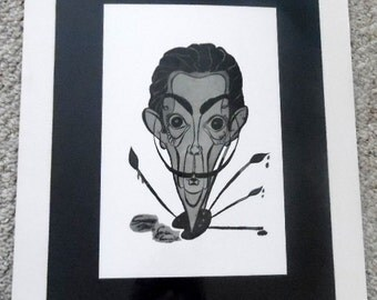 Matted and signed caricature of Salvadore Dali.