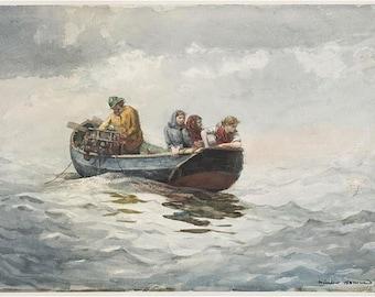 Winslow Homer-Crab Fishing.1883  seascape crabbing